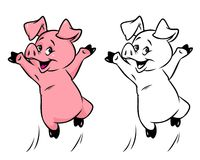 Joyful pig cartoon illustration Royalty Free Stock Images