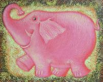 Joyful pink baby elephant. Royalty Free Stock Images