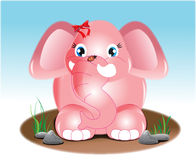 Joyful pink elephant illiustration Stock Photos