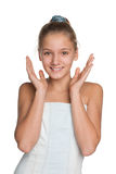 Joyful preteen girl against the white Royalty Free Stock Image