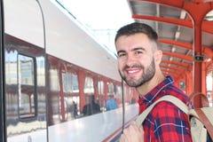 Joyful public transportation passenger with copy space Royalty Free Stock Photos