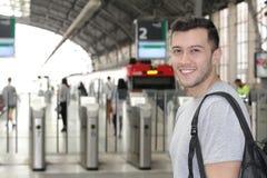 Joyful public transportation passenger with copy space.  Stock Photos