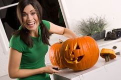 Joyful Housewife Holiday Halloween Pumpkin Carving Stock Photography