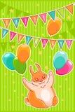 Joyful rabbit and balloons. Confetti stars, flags and garlands. Happy Birthday. Vector illustration Royalty Free Stock Photo