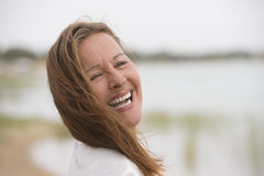 Joyful relaxed senior woman outdoor Royalty Free Stock Images
