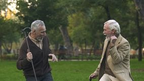 Joyful retired men dancing park with walking sticks, having fun together, humor