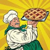 Joyful retro cook berry pie Royalty Free Stock Photos