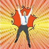 Joyful retro man with pop art vector illustration Stock Images