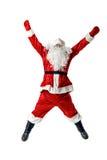 Joyful Santa Claus jumping and waving his arms. Stock Photo