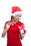 Joyful Santa helper openning present box Stock Photo