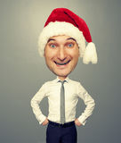 Joyful santa man with big head Royalty Free Stock Photography