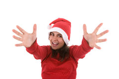 Joyful santa woman with arms wide open Stock Photos