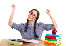 Joyful school girl Royalty Free Stock Image