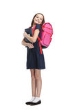 Joyful schoolgirl with the briefcase. Is happy to study, isolated, white background Royalty Free Stock Photography