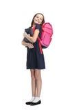 Joyful schoolgirl med portföljen Royaltyfri Fotografi