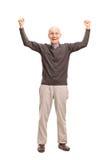 Joyful senior gesturing happiness Stock Images