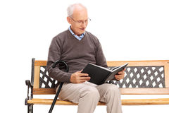 Joyful senior reading a book seated on a bench Stock Photo