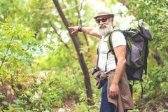 Joyful senior tourist enjoying his travel in forest Stock Photography
