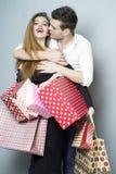 Joyful shopping couple Stock Photos