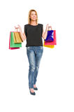 Joyful shopping woman Stock Photos