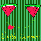 Joyful sliced watermelon slices, smiling showing tongue, isolate. Joyful sliced watermelon slices, smiling showing tongue,  striped background. Hand drawn Stock Images