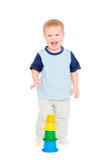 Joyful small boy. Portrait of joyful small boy over white background Stock Images