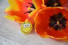 Joyful smiley and amazing orange tulips stock photo