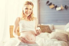 Joyful smiling pregnant woman resting at home. Joyful mood. Cheerful young pregnant woman sitting in bed and using body cream while resting Royalty Free Stock Photos