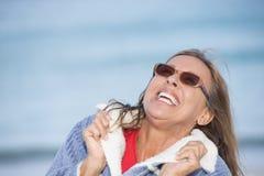 Joyful smiling woman winter jacket outdoor Stock Photography
