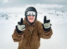 Joyful snowboarder Stock Photo