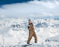 Joyful snowboarder Royalty Free Stock Image