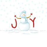 JOYful Snowman. Photoshop illustration of a snowman with his body making up the O in Joy Royalty Free Stock Image