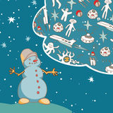 Joyful Snowman dreams of space travel. Vintage greeting card. Stock Photos