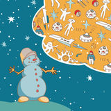 Joyful Snowman dreams of space travel. Vintage greeting card. Stock Photography