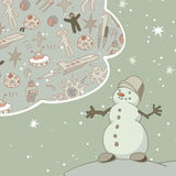 Joyful Snowman dreams of space travel. Vintage greeting card. EPS-8 stock illustration