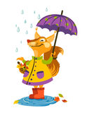 Joyful squirrel walking in the rain with an umbrella and catch raindrops. Stock Image