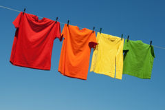 Joyful summer laundry Stock Images
