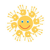 Joyful sun of handprints Stock Images
