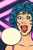 Joyful surprise woman. Girls 80s stock photography