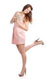 Joyful teenage girl with dollars in her hands Stock Photography