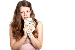 Joyful teenage girl with dollars in her hands Stock Photography