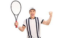 Joyful tennis player holding a racket. And gesturing happiness isolated on white background Stock Photos