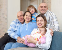 Joyful three generations family in home Stock Photo