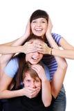 joyful tonåring för grupp Arkivbilder