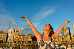 Joyful tourist enjoying european summer vacation Royalty Free Stock Image