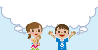 Joyful Two kids with empty thought bubble ,Summer fashion Royalty Free Stock Photos
