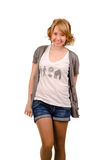 Joyful ung blond kvinna Fotografering för Bildbyråer