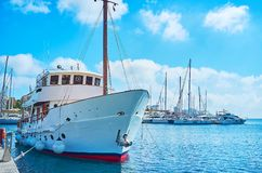 The saling yachts in port of Valletta, Malta. The joyful walk among the sailing yachts and boats in port of Valletta, Malta Royalty Free Stock Images