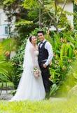 Joyful wedding couple Stock Photography