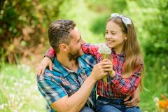 Joyful weekend. ecology. Happy family day. little girl and happy man dad. earth day. family summer farm. daughter and. Joyful weekend. ecology. Happy family day royalty free stock image
